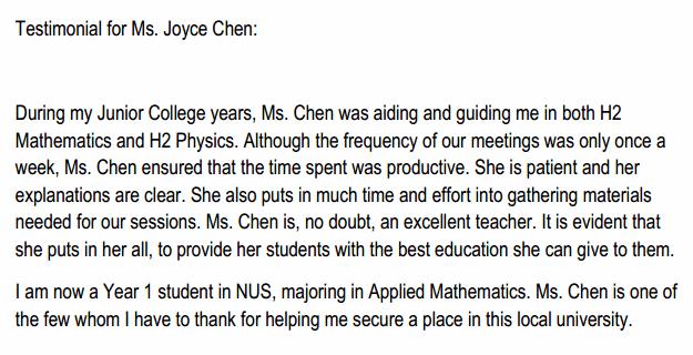 Ms. Chen is, no doubt, an excellent teacher.