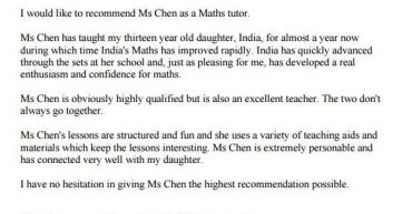 Testimonial from Math tuition student