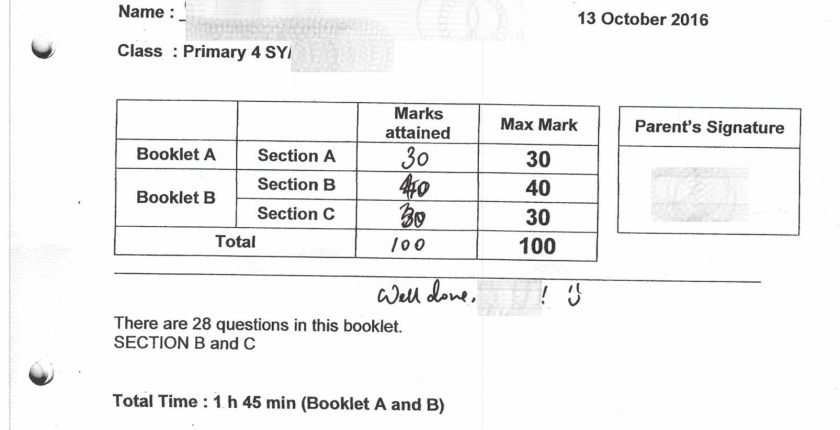 SCGS student full marks again in math exam.